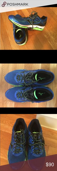 Mizuno Mens Wave Enigma Shoes Sky Blue/Black/Green Worn once. Like new Mizuno Shoes Athletic Shoes