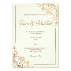 Shop Gold Floral Flourish Bridal Shower Invitation created by StationeryDesigns. Wedding Card Design, Wedding Designs, Wedding Cards, Wedding Gifts, Wedding Bride, Gold Wedding Invitations, Bridal Shower Invitations, Custom Invitations, Invitation Card Design