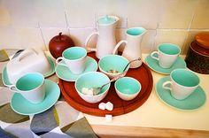 Poole pottery twin tone Tea Set, Tea service. Poole pottery twintone two tone Seagull and Ice Green, Colour combi C57. Mid century Modern