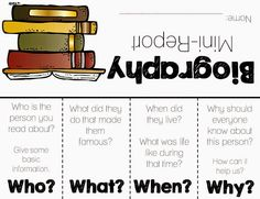 Classroom Freebies Too: Free Biography Foldable Flip Report