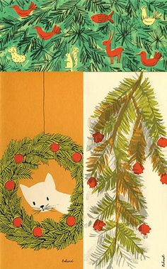 Collage of Vintage Mid Century Christmas Cards designed by Walter Erhard. Christmas Tree Crafts, Christmas Mood, Christmas Design, Christmas And New Year, Christmas Decorations, Christmas Border, Christmas Knitting Patterns, Christmas Drawing, Christmas Graphics