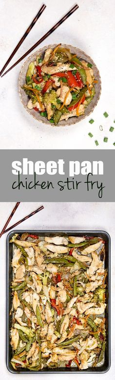 My family loves this easy recipe: Chicken stir fry cooked on a sheet pan