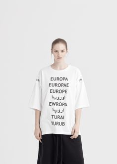 SS17 COLLECTION | FINIS EUROPAE There is a growing gap between the political elites and societies. We must realize that this is the end of Europe as we know it. Slightly oversize, made of premium cotton, white tee. Europa print in different languages on the front and logo printed at shoulders. Grosgrain flag in black …