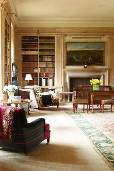 """thefoodogatemyhomework: """" The surprisingly light and airy pine library at Lynn Forester de Rothschild English estate. Remind me to make sure my next husband is a Rothschild. English Interior, Classic Interior, Interior And Exterior, Interior Design, Luxury Interior, Interior Decorating, Home Libraries, Traditional Decor, Modern Room"""