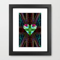 circuit board Flag, Union Jack. Framed Art Print by seb mcnulty - $32.00