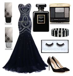 """BLACK"" by rina-shmail on Polyvore featuring beauty, Burberry, Jimmy Choo, Huda Beauty, Guerlain and Chanel"