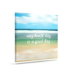 "Sylvia Cook ""Any Beach Day"" Coastal Typography Outdoor Canvas Art"