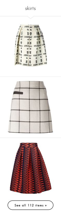 """""""skirts"""" by natalie1523 ❤ liked on Polyvore featuring skirts, white, checkered skirt, knee length pleated skirt, fendi skirt, boucle skirt, a line skirt, tory burch, beige skirt and checked skirt"""