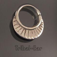 Septum nose ring plain silver piercing ethnic handmade jewelry Tribal Ear 013