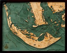 Wood Carved Sanibel Island Florida Bathymetric Nautical Lake Art Chart 3 D Topo Puerto Rico, Pine Island, Captiva Island, Lake Art, Nautical Chart, Custom Wood, Decoration, Sea Shells, Vintage World Maps