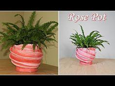 Um novo modelo de vaso de flores com Cimento e Tecido. Método fácil e baixo custo! - YouTube Cement Art, Concrete Crafts, Concrete Art, Cement Flower Pots, Plastic Bottle Art, Diy Arts And Crafts, Planter Pots, Projects To Try, Plants