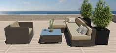 6 PC Modern Outdoor All Weather Wicker Rattan Patio Set Sectional Sofa Furniture  $500