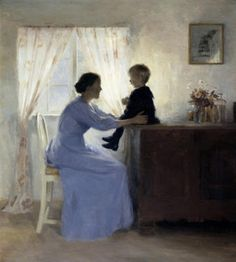 "Peter Ilsted (1861-1933) Danish painter ""Mother and child"""