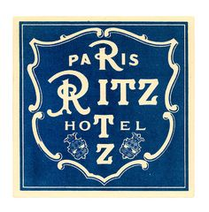 Hotel Ritz Paris France Label by Art of the Luggage Label, via Flickr