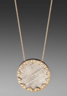 HOUSE OF HARLOW Two Tone Engraved Sunburst Pendant in Gold/Silver