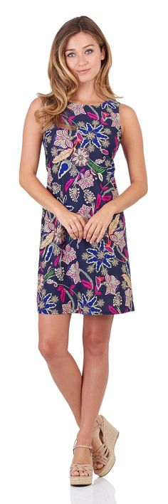 Beth Shift Dress in Whimsical Floral Navy - FINAL SALE