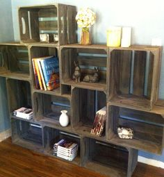 a unique storage solution, made of locally sourced reclaimed materials, based out of Chico, Ca. The rustic apple crates can be arranged anyway you want. Crate Bookcase, Crate Shelves, Wooden Crate Furniture, Diy Furniture, Large Wooden Crates, Toy Shelves, Bookshelf Storage, Crate Bed, Apple Crates