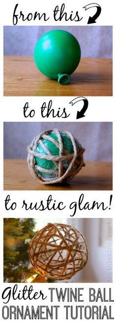 "DIY Glitter Twine Ball Ornament Tutorial | Start with a balloon and some twine and end up with a Glitter Twine Ball Ornament!  So easy! this year, I thought it'd be fun to create some Glitter Twine Ball Ornaments to compliment our Tree Topper.  And just because it's ""rustic"" doesn't mean it can't be ""glam.""  In fact, I hereby dub my holiday decor style, ""rustic glam."" Find the full tutorial here!"
