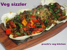 Prachi's veg kitchen: Veg Sizzler with hot Soya Chilli Sauce