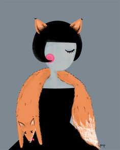Fox, lady, illustration, forest, retro, vintage,  by Margo Dumin www.margolcia-dumin.blogspot.com
