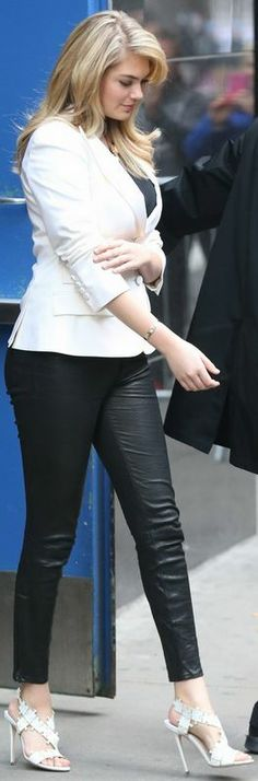 "Kate Upton makes her guest appearance on ""Good Morning America"" in J BRAND's L8035 Leather Crop in Noir."