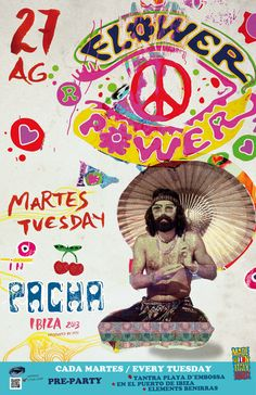 FLOWER POWER 27 AUGUST | Pacha Ibiza Tantra, Ibiza, Psychadelic Art, Club Poster, Wall Pictures, Picture Wall, Beautiful Beaches, Psychedelic, Flower Power