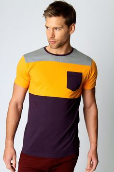 Colour Block Pocket Tee at boohoo.com