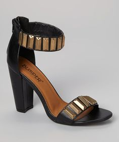 Look at this #zulilyfind! Black Embellished Nyla Ankle-Strap Sandal by Bumper #zulilyfinds