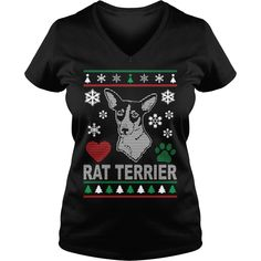 Ugly Rat Terrier Christmas Design, Order HERE ==> https://www.sunfrogshirts.com/Black-Ladies-V-Neck-Ugly-Rat-Terrier-Christmas-Design-263187817.html?29538, Please tag & share with your friends who would love it, border terrier cartoon, border terrier puppy black, border terrier puppy faces #goat #illustrations #posters #christmasgifts #xmasgifts #birthdaygifts #bestfriend #giftsegment #girlfriendgiftideas