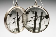 2015/08/03 Embedded bird transparency prints in resin and open back pipe ring trays - Light the night