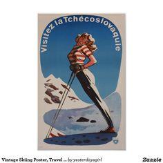 Vintage Skiing Poster, Travel Czechoslovakia Poster