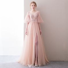 Chic   Beautiful Blushing Pink Evening Dresses 2018 A-Line   Princess  Beading Sequins Pearl Split Front V-Neck 1 2 Sleeves Backless Sweep Train  Formal ... 2a8cb52dc