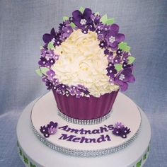Floral giant cupcake