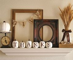For many people, giving thanks is a big part of fall. Courtney (adiamondinthestuff.com) spoke to Thanksgiving with her warm gratitude-theme mantel. Layered frames and a wheat arrangement add height and depth, while white touches guide the eye across the mantel. Stencils came in handy for the lettering on her burlap banner and painted pumpkins./