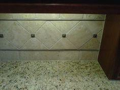 custom tile backsplash bottom row & trim should do nicely! Custom Design, Tile, Honey, Backsplash Ideas, Washroom, Kitchen Ideas, Mosaics, Laundry Room, Tiles