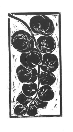 Tomatoes: food theme lino cut prints, available in black and white, or hand painted with water colou Linocut Prints, Art Prints, Block Prints, Lino Art, Linoleum Block Printing, Linoprint, Food Themes, Food Illustrations, Art Sketchbook