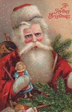 Old World Red Robe Santa Original Antique Christmas Postcard #Christmas