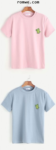 Pink Cactus Embroidered Mock Neck T-shirt – Cactus Cactus Shirt, Shirt Embroidery, Cute Shirts, Fashion Outfits, Womens Fashion, Diy Clothes, Neck T Shirt, Lingerie, Shirt Designs