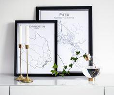 Piteå. Norrbotten. Stadskarta. Affisch. Karta. Map. Poster.