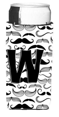 Letter W Moustache Initial Ultra Beverage Insulators for slim cans CJ2009-WMUK