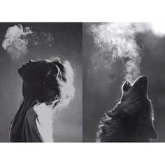 W O L F   W O M A N  #Solitary #wolf #wolves #love  #black #white #dignity #soul #legendary #vikings #pagan #odin #alternative #goth