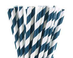 25 Paper Straws Navy Blue & White Stripe Nautical par thepaperkit