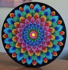 Color burst mandala on 12 inch stretched round canvas! Mandala Canvas, Mandala Artwork, Mandala Painting, Mandala Drawing, Mandala Design, Mandala Pattern, Dot Art Painting, Stone Painting, Dot Painting Tools