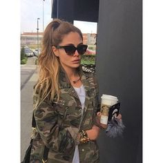 Good morning via ☕️☑️ Camo Fashion, Camo Outfits, Camo Print, Camouflage, Sunnies, Good Morning, Military Jacket, Round Sunglasses, Army