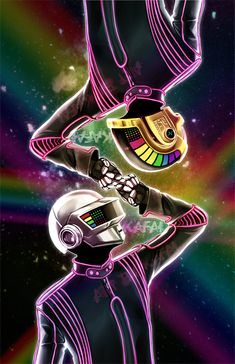 Daft Punk Illustration, could inspire an awesome glow in the dark techno party…