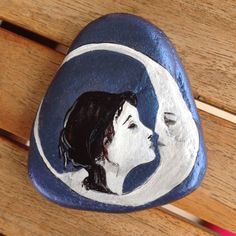 #painted #pebbles #stones #rocks #acrylics #art #love #lovers #kiss #love you to the moon and back #moon #crescent #woman #sky blue #N4Joy