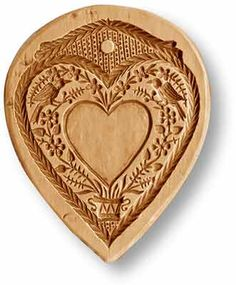 Love Heart For Personalization Springerle Cookie Mold Snookerdoodle Cookies, Dutch Cookies, Filled Cookies, Coconut Cookies, Heart Cookies, Cookies Et Biscuits, Chip Carving, Wood Carving, Springerle Model