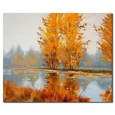 Hand-painted Landscape Oil Painting - Autumn Rivers