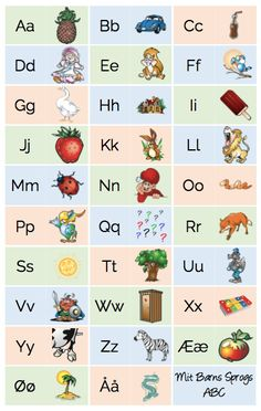 (2017-11) Alfabetplakat Learning The Alphabet, Alphabet Activities, Preschool Activities, Danish Language, Wall Christmas Tree, Tracing Letters, School Study Tips, School Hacks, Learn To Read