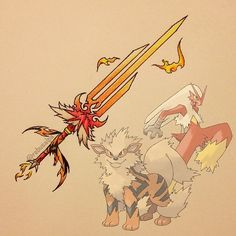 Pokeapon Fusion - Arcanine & Blaziken. Request by @jmitch36. It seem unfair if I chose the most liked fusion to be the winner, I'll do it by voting.